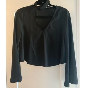 Zara black blouse with flared sleeves
